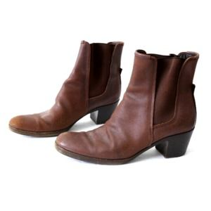 JIL SANDER Brown Leather Pull On Ankle Boots